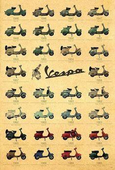 30 Models Italian Scooter Piaggo Vespa Old Classic Motorcycles Italy Piaggio Vespa, Vespa Ape, Scooters Vespa, Motos Vespa, Lambretta, Motor Scooters, Vespa Motorcycle, Gas Scooter, Vintage Vespa