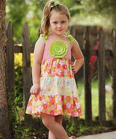 Love this Coral & Green Floral Ruffle Dress - Toddler & Girls on #zulily! #zulilyfinds