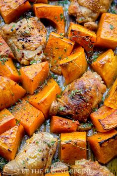 One Pan Chicken and Squash - perfect fall dinner recipe idea, just toss everything together and bake.