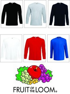Men's Fruit of the Loom Long Sleeve T Shirt Plain Tee Shirt Top Cotton **XS-2XL* in Clothes, Shoes & Accessories, Men's Clothing, T-Shirts   eBay!