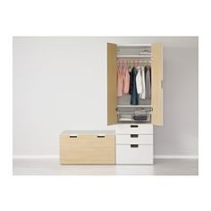 IKEA - STUVA, Storage combination with bench, white/birch, , Deep enough to hold standard-sized adult hangers.Doors with silent soft-closing damper.Stands steady also on uneven floors since adjustable feet are included.The doors have rounded corners and a cut-out handle with smooth edges.