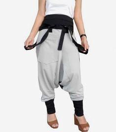 Light Gray Two tone Suspender Drop Crotch Pants, Extra Large Ninja Trousers  #TribalFashion #JumpsuitSuspender