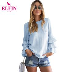 Women Tops And Blouses 2017 New Fashion Elegant Blusas  Ruffles Sleeve Soild Ladies Tops Femininas Shirt Women Clothing LJ5463R