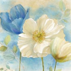 Cynthia Coulter Watercolor Poppies II (Blue/White)