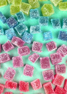 Goodie Goodie Gumdrops    4 Tbsp gelatin (that's about 6 envelopes)  1 cup cold water  1 1/2 cups boiling water  4 cups sugar  1/4 tsp flavored extract like lemon or peppermint  1-2 drops food coloring (I used four colors)  extra sugar for coating  You can also make 2 – 8X8 pans or 1 – 9X12 pan depending on the number of colors you want to make.