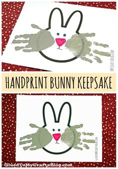 Handprint Bunny Keepsakes w/free printable template - Easter Kids Craft - Spring Themed Decor and Gift Idea Bunny Crafts, Flower Crafts, Mason Jar Crafts, Bottle Crafts, Toddler Crafts, Preschool Crafts, Spring Crafts For Kids, Easter Art, Easter Bunny
