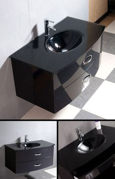 Easy Slider Bathroom Furniture in Gloss Black or White (6A)