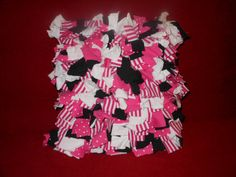 Shaggy Rag Rug Pillow Black Pink White Square Minnie by melmac84