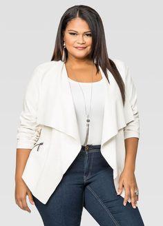 Cascade Open Front Leather Jacket-Plus Size Jackets-Ashley Thick Girl Fashion, Cute Fashion, Dress Outfits, Fashion Outfits, Fashion Ideas, Dresses, Ashley Stewart, Fall Wardrobe, Jacket Style