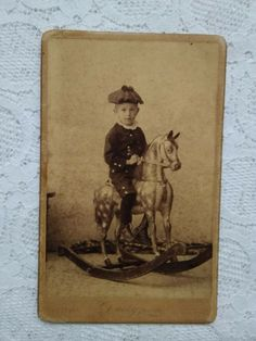 Antique Hungarian sepia CDV/visit card, little boy on cockhorse, Christmas Victorian Photos, Woman Standing, Old Antiques, Rare Antique, Little Boys, Christmas Decorations, Cards, Painting, Ebay