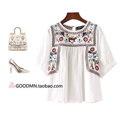 Ladies fashion doll shirt embroidered folk style coat t-shirt female 2016 summer new