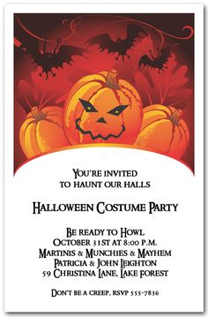 Halloween Invitations Bats And Mad Jack