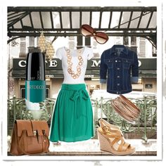 Spring Lunch date//the skirt is gorgeous--love the bow and the color!