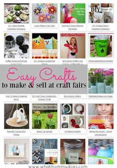 Easy crafts to make and sell at craft fairs….a list of super cute DIY craft projects you can sell for extra money. Great if you need a list of ideas to get your creativity flowing. All the crafts have tutorials, too. Some are simple enough for kids, others are better for teens and moms. Just in time for Christmas cash! make money from home, ways to make money at home