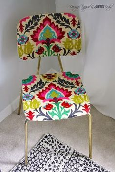 "How to ""upholster"" a chair with fabric and Mod Podge. ~ Come learn how to ""upholster"" a chair with fabric and mod podge for a BOLD look on a small budget! Furniture Projects, Furniture Makeover, Diy Furniture, How To Decoupage Furniture, Wooden Chair Makeover, Decoupage Wood, Sofa Upholstery, Upholstered Chairs, Upholstery Repair"