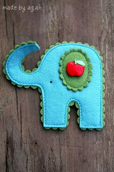 Lucky Elephant - felt project - different color options than previously posted lucky elephant