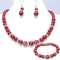 Bridesmaid Red Pearl Bracelet Necklace Earrings