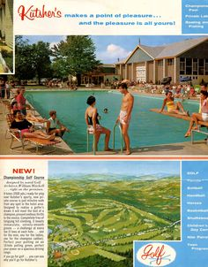 Kutsher's summer brochure 1964 (Courtesy Roger Whitman) Catskill Hotel, Catskill Resorts, Borscht, Bathroom Vanities, Brochures, Motel, Vintage Travel, Vintage Postcards, Abandoned