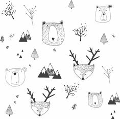 kids wallpaper self adhesive bears and deer white background removable wall mural kids room decor Kids Wallpaper, Vinyl Wallpaper, Self Adhesive Wallpaper, Kids Wall Murals, Nursery Wall Murals, Removable Wall Murals, Doodle Art, Light In The Dark, Doodles
