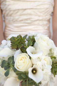 Bouquet Blueprint | white blooms + green succulents