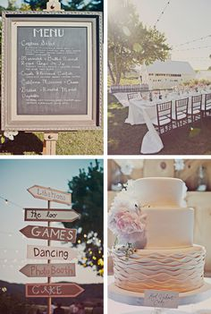 Love everything about this wedding! Wedding CAKE (Red Velvet), Menu Board & 'How to get to Where-You're-Going' Ideas!  Exactly what we want for our big day :)