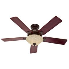 Hunter Waldon 5 Minute Fan 52-in Onyx Bengal Bronze Downrod or Close Mount Indoor Ceiling Fan with Light Kit