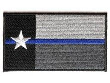 "Thin Blue Line Texas State Flag Patch for Law Enforcement 3.5"" x 2"" MOTORCYCLE BIKER SEW OR IRON ON"
