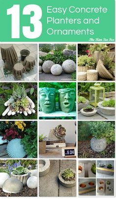 13 Easy Concrete Planters and Ornaments ~ such fun and a great way to add style to your outdoor and indoor space.