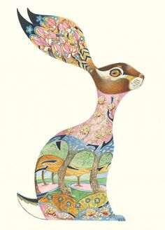 Animal art greetings cards, prints and coasters by award winning Artist Daniel Mackie. The DM Collection is inspired by Japanese prints and Art deco Hare Illustration, Watercolor Illustration, Illustration Styles, Animal Illustrations, British Wildlife, Rabbit Art, Collage, Japanese Prints, Fine Art Paper