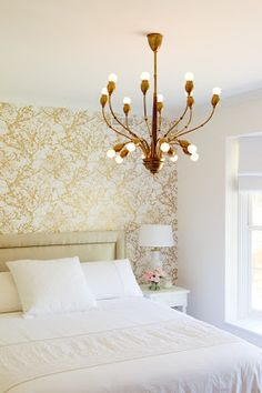 A Wallpaper Accent Wall love the gold wall paper...thinking about doing this on the stairs