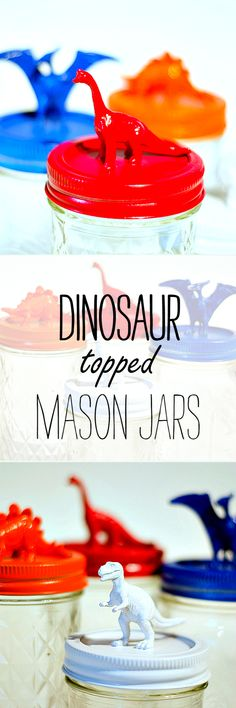 Mason Jar Craft Idea for Kids - Toy Storage Ideas - Dinosaur Topped Mason Jars @ It All Started With Paint