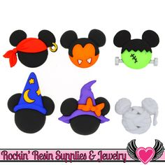 Disney Mickey & Minnie Mouse Halloween Hats Jesse James Dress It Up Buttons (Officially Licensed) OR Turn them into Flatback Decoden Cabochons with a quick snip (See Photos Above) Model: Disney's Mick