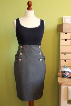 button pencil skirt // would go great with a yellow cardigan