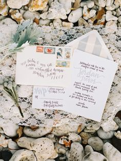 Beachy invitations: http://www.stylemepretty.com/destination-weddings/2015/04/24/whimsical-elegant-backyard-wedding-inspiration/ | Photography: Wendy Laurel - http://www.wendylaurel.com/