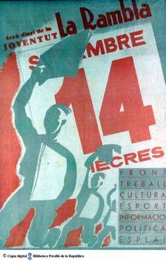 La Rambla : serà diari de la joventut : front, treball, cultura, esport, política, esplai :: Cartells del Pavelló de la República (Universitat de Barcelona)