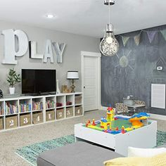 Organization Ideas children Playroom Chalk wall, stage // The House of Figs - children ro. Playroom Chalk wall, stage // The House of Figs - children room ideas - Playroom Design, Playroom Decor, Kids Room Design, Playroom Organization, Garage Playroom, Basement Kids Playrooms, Basement Daycare Ideas, Daycare Room Design, Dining Room Playroom Combo