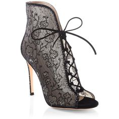 Gianvito Rossi Crystal Mesh Lace-Up Booties ($3,895) ❤ liked on Polyvore featuring shoes, boots, ankle booties, laced up ankle boots, lace-up boots, lace up peep toe booties, peep-toe booties and mesh booties