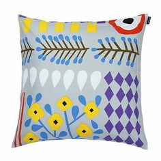 Akankaali Cushion Cover in grey, violet, yellow .Buy all Marimekko cushions online in NZ and Aussie. Marimekko, Grey Pillows, Throw Pillows, Cushion Covers, Pillow Covers, Bed Covers, Cozy Home Decorating, Elephant Cushion, Living Room Cushions