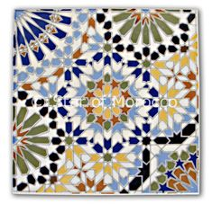 Moroccan Tile This Moroccan tile can be used in your kitchen, living room, patio area or bathroom. Indulge yourself with adding some magic to any space of your home by using this intricate tile! Please click on the details pictures to enlarge them for better viewing.Dimensions: Height = 8