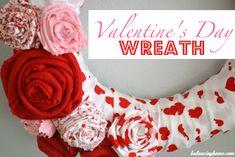 Valentine's Day Fabric Flowers Wreath - gorgeous!