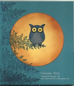 handmade card ... big circle moon cut with sponging ... innovative use of tree stamp from Lovely as a Tree to simulate branhes of a big tree ... punch are owl .. like this design ... Stampin' Up!