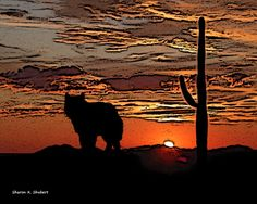 "Wolf Sunset Art - Chihuahuan Desert Texas - Giclee Print - 8 x 10-inch - FREE SHIPPING. Wolf in the Chihuahuan Desert in West Texas artwork. A Southwestern sunset landscape digital artwork in an abstract realism style. Inspired by my life-long interest in Native American totem animals. It's entitled, ""Desert Sunset"" and is one of many wolf, coyote and fox artworks I have available. Print type: Giclee Paper size: 8.5 x 11-inches Image size: 8 x 10-inches Paper type: HP Premium Soft Gloss..."