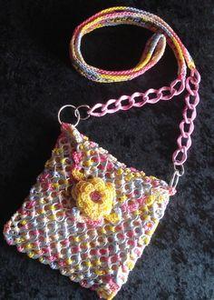 Handmade Crochet Soda Pop Tab Hip Cross Body Bag Multicolored