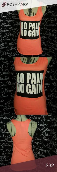 🍒NEW NO Pain No Gain Tank New (still has the plastic tag holder on but no tag so listed as new)   Hot Pink and black.  22.5 inches long  Please ask any and all questions before purchasing this item. Tops Tank Tops