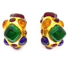 Vintage Dominique Aurientis Rainbow Gripoix Glass Gold Tone Clip Earrings | Clarice Jewellery | Vintage Costume Jewellery