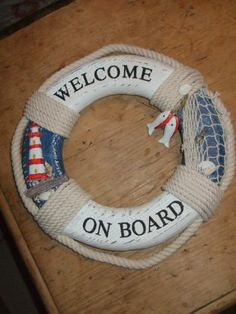 wooden painted blue & white nautical beach sea WELCOME ON BOARD life buoy ring Sea Bedrooms, Welcome On Board, Bedroom Themes, Bedroom Ideas, My Dream Home, Dream Homes, Hiding Places, Nautical Home, Pool Designs
