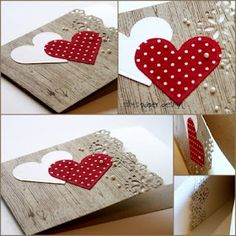 Valentine card ... woodgrain print cardstock ... lacy flower borderpunch ... two heart ... fresh look ...