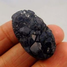 38 Cts. Natural Dyed Blackl Crystal Druzy Agate Loose Cabochon Gemstone AAE45