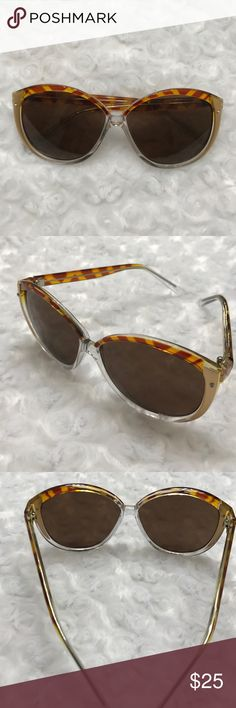 RETRO OVERSIZED SUNGLASSES These are Amazing!✨ tiger stripes on top. Gold fade to clear frame. Small silver screws on the front for detail. Brown lenses. Small scratch on the right side of frame. Beautiful sunnies. -No trades. This is my lowest unless bundled. Like this item? Follow me. I list weekly. Thank you. Carolyn. Accessories Sunglasses