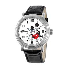 This Disney watch displays an iconic image of Mickey Mouse on a white dial. Features include silver-tone hands, black Arabic numerals and a alloy case. It has a black leather band with a buckle clasp. This watch is water-resistance tested to 30 meters. Mickey Mouse Images, Mickey Mouse Watch, Disney Mickey Mouse, Minnie Mouse, Citizen Dive Watch, Vintage Watches, Watches For Men, Black Leather, Women's Fashion